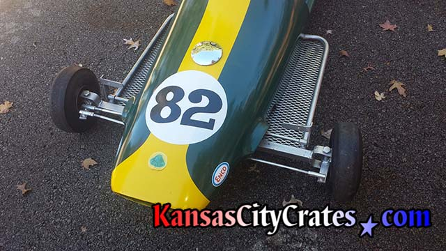 Picking up Scotsman Jimmy Clark replica go-kart for insudtrial crate