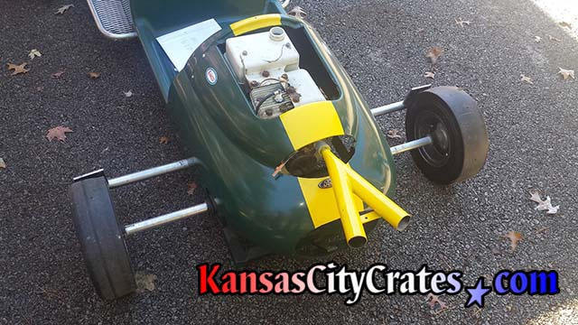 Industrial crate for rear engine go-kart