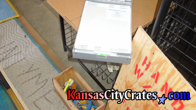 A condition report is done on each item before crating.