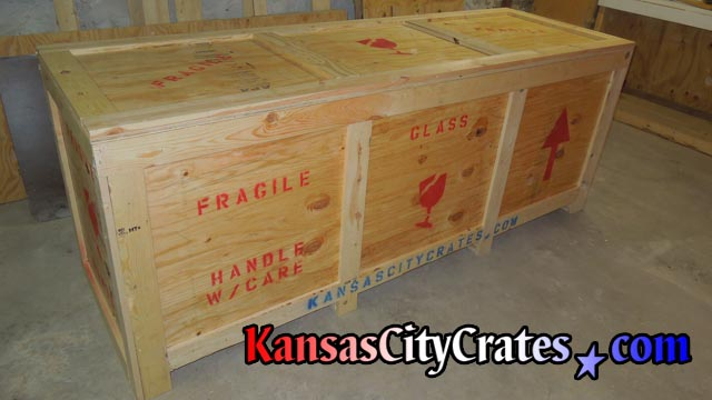 Fork lift access large shipping and storage containers produced at crate shop in Kansas City MO