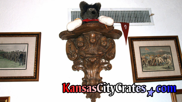 Full Size View Of Antique Wood Putti Pedestal Holding Collector Doll On Wall In Kansas City