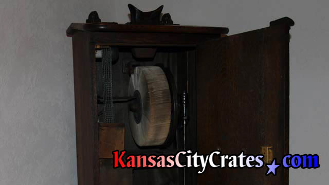 Open Mutoscope showing wheel of cards that creates moving pictures.