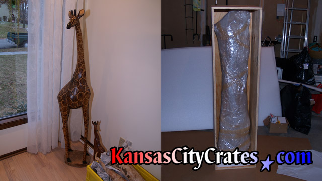 2 views of Tall wood giraffe carving showing before and after crate packing.