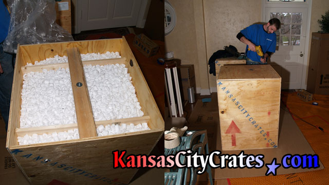 Screwing lid closed on solid wall export crate at home in Desoto KS  66018