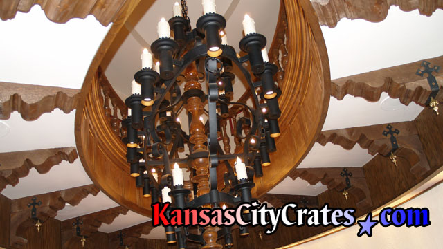 Kansas city crates how to move a chandelier large football shaped custom iron chandelier hanging in conference room at stadium before building operations removed aloadofball Gallery