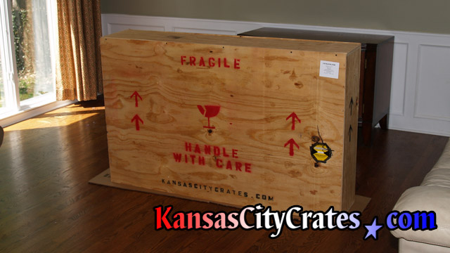 LCD TV fully packed in crate ready for shipment at home in Olathe KS  66062