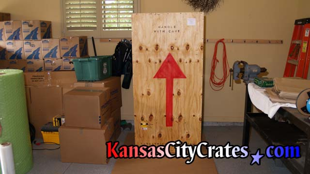 Furniture crate marked for export.