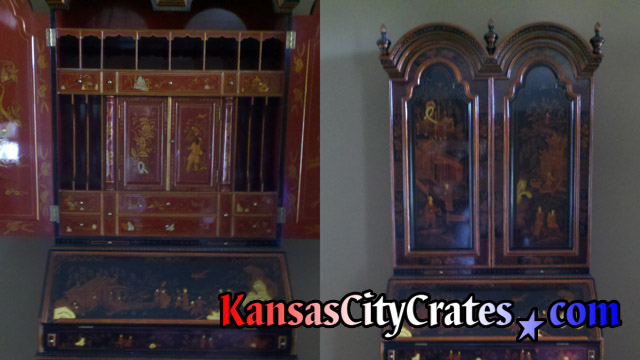 Hand painted Chinese Secretary before crating.