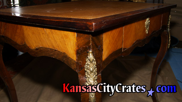 Gold trim on antique table
