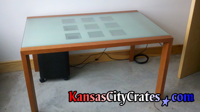 Etched glass table top to pack in wood crate.