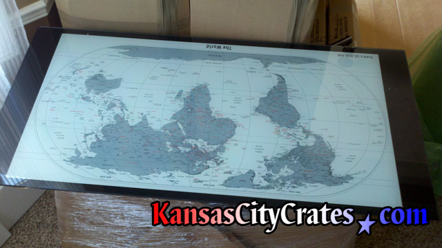 Kansas city crates crates for glass tops and mirrors desk top glass with world map removed for paper and bubble wrapping before packing into wood gumiabroncs Gallery