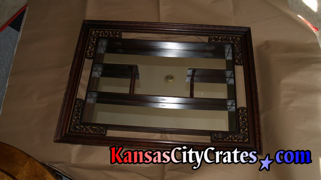 Hand carved wood shelf with mirrored back