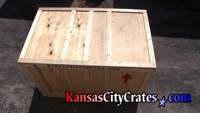 Overhead view of closed crate showing lid installed and ready to ship ATV