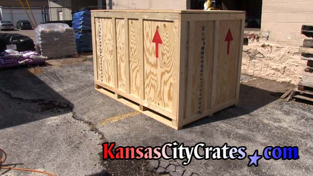 Three quarter view of finished crate ready for shipping ATV