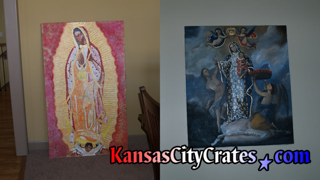 Crating of Madonna with Child oil paintings at estate in Kansas City