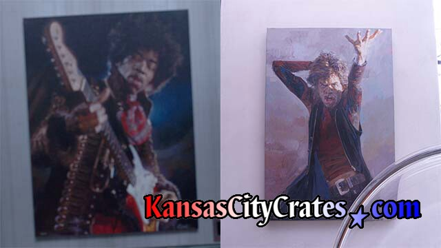 Original oil paintings by Sebastian Kruger of Jimi Hendrix and Mick Jagger at mansion before crating.