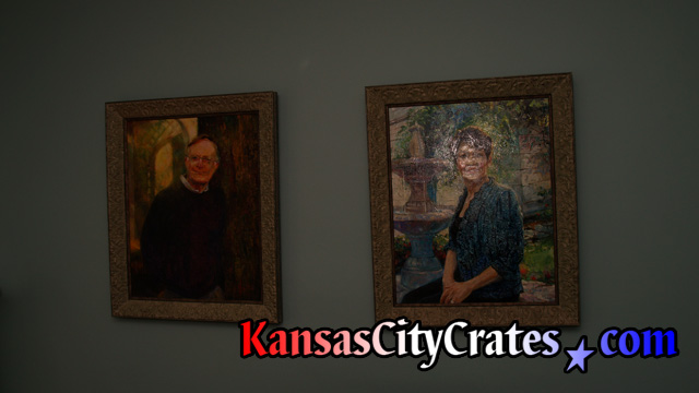 Original oil paintings of professional couple at mansion in Kansas City MO
