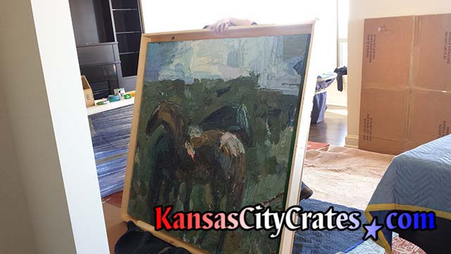 Crate for large oil painting stretched over canvas frame