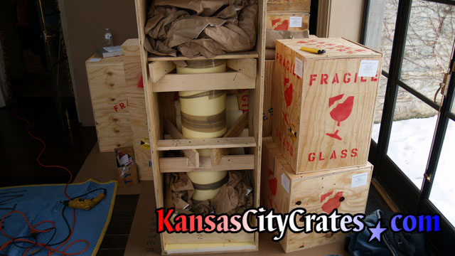 Heavily braced sculpture inside wooden crate for shipping at home in Shawnee KS  66226
