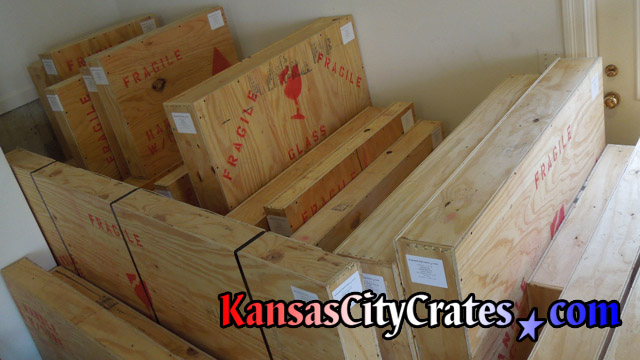 Row of all wood solid wall crates for storage during home rennovations at home in Mission KS  66205