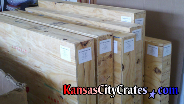 Photo example of labels placed on crates before shipping at home in Tonganoxie KS  66086