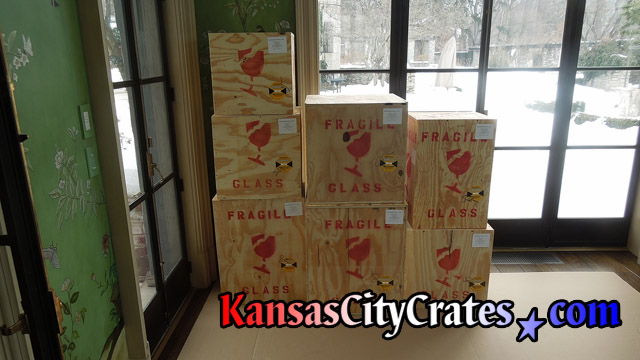 Finished plywood crates on carboard flooring protection at home in Mission KS  66205