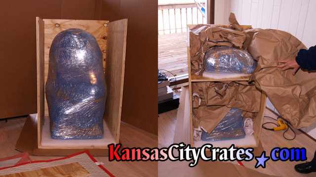 Photo showing foam and void fill packing in all wood crate to ship fragile statue.