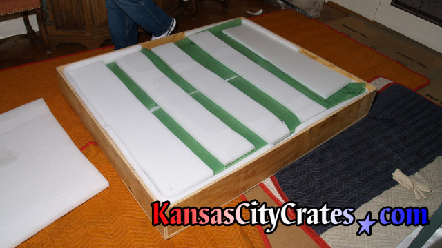 All wood shipping crate with additional foam lining to protect fragile item during transport at home in Overland Park KS  66221