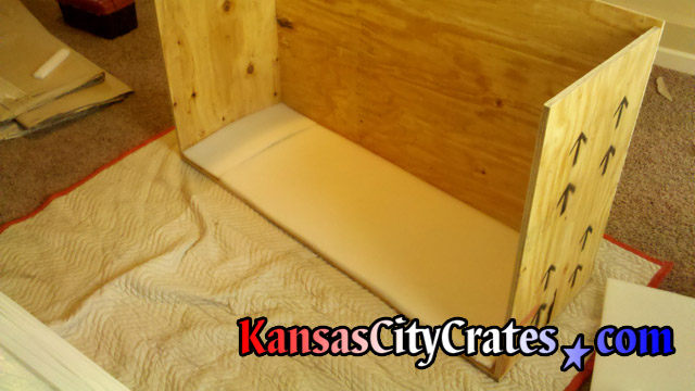 All wood crate with foam lined bottom for international shipping at home in Leavenworth KS  66048