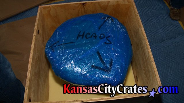 Item is marked for handling before packing into wood crate at home in Olathe KS  66061