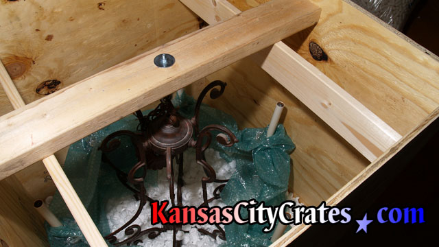 Odd shapes, sharp objects, or weak points of the item being crated will sometimes require the crater to add additional rigging or internal bracing to the crate to ensure the object arrives safely.