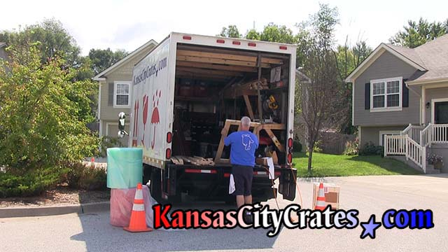 On site crate building truck is fully stocked with all supplies to pack fragile items