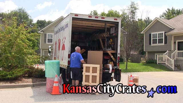 Kansas City Crates builds crates onsite with self contained truck that supplies power and air to drive tools