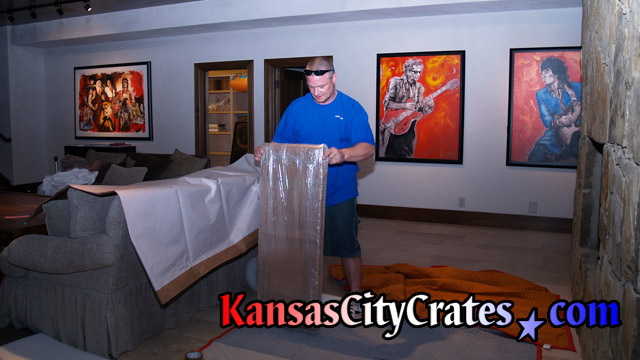 Greg preparing to handle Ron Woods Art Collection at Mansion in Mission Hills Kansas