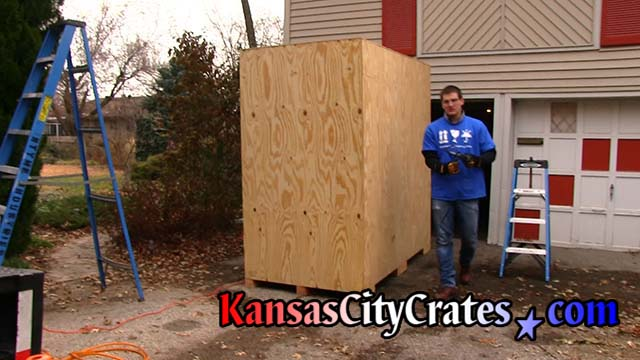 Crate builder at home in Kansas City KS after assembly of storage vault on-site